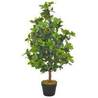 vidaXL Planta artificial árbol de laurel con macetero 90 cm verde