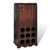 vidaXL Botellero de madera para 9 botellas baúl con cajón