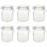 vidaXL Tarros de vidrio con cierre hermético 6 unidades 1 L