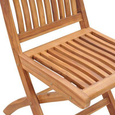 vidaXL Sillas de jardín plegables 4 uds madera maciza teca con cojines