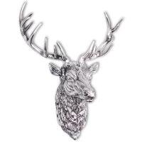 vidaXL Cabeza de ciervo decorativa para pared aluminio plateado
