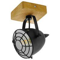 EGLO Foco Gatebeck 1 bombilla acero y madera negro