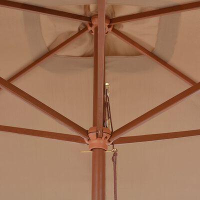 vidaXL Sombrilla de jardín con palo de madera 200x300 cm gris topo