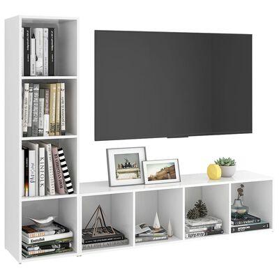 vidaXL Muebles para TV 2 uds aglomerado blanco 142,5x35x36,5 cm