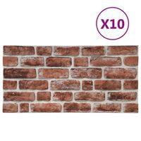 vidaXL Paneles de pared 3D diseño ladrillo marrón oscuro 10 pzas EPS