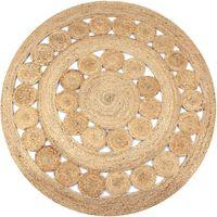 vidaXL Alfombra redonda yute trenzado con diseño 150 cm