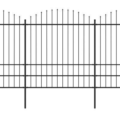 vidaXL Valla de jardín con puntas de lanza acero negro (1,75-2)x5,1 m
