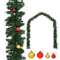 vidaXL Guirnalda de Navidad decorada con bolas 10 m