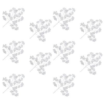 vidaXL Hojas artificiales de ginkgo biloba 10 unidades blanco 65 cm