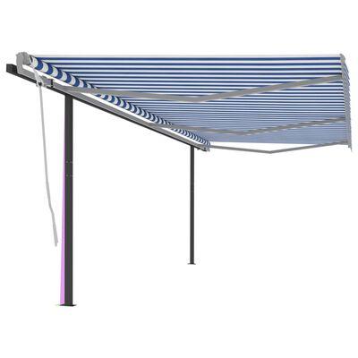 vidaXL Toldo manual retráctil con postes azul y blanco 6x3,5 m