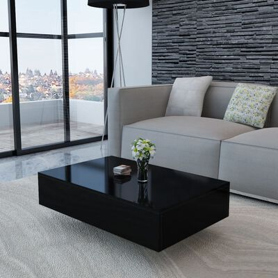 vidaXL Mesa de centro rectangular negra con brillo
