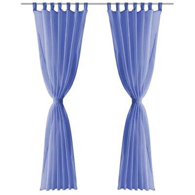 vidaXL Cortinas de gasa 2 unidades 140x175 cm azul real