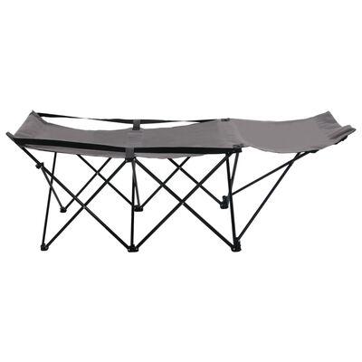 vidaXL Tumbona plegable acero gris