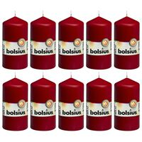 Bolsius Velas 10 unidades rojo vino tinto 120x58 mm