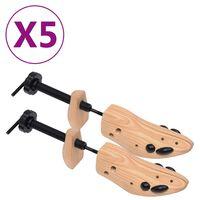 vidaXL Hormas de zapatos 5 pares madera maciza de pino número 41-46