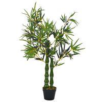 vidaXL Planta artificial bambú con macetero 110 cm verde