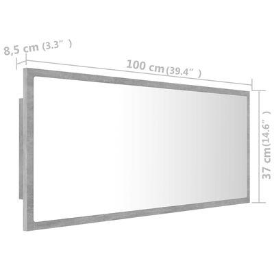 vidaXL Espejo de baño con LED aglomerado gris hormigón 100x8,5x37 cm
