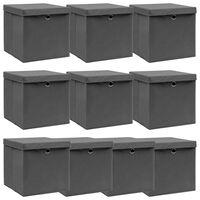 vidaXL Cajas de almacenaje con tapas 10 uds tela gris 32x32x32 cm