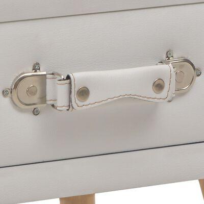 vidaXL Mesitas de noche 2 unidades 40x35x40 cm cuero sintético blanco