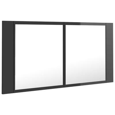 vidaXL Armario espejo de baño luz LED gris brillante 90x12x45 cm