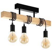 EGLO Lámpara de techo Townshend 3 bombillas madera negro y beige