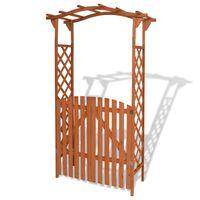 vidaXL Arco de jardín con puerta de madera maciza 120x60x205 cm