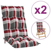 vidaXL Cojines para sillas de jardín 2 uds cuadros rojos 120x50x7 cm