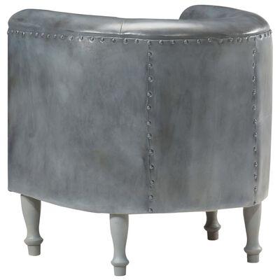 vidaXL Sillón diseño de cubo cuero auténtico gris