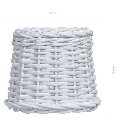 vidaXL Pantalla de lámpara de mimbre blanco 15x12 cm