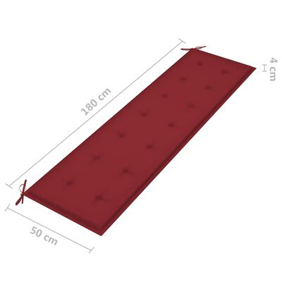 vidaXL Cojín para banco de jardín tela rojo tinto 180x50x4 cm