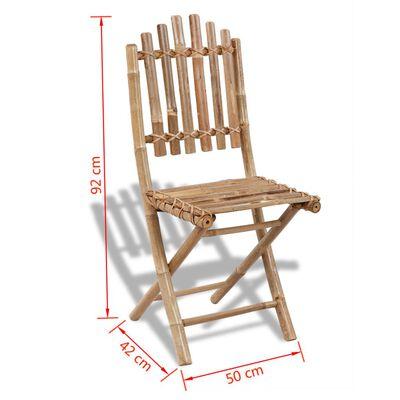 vidaXL Sillas de jardín plegables 2 unidades bambú