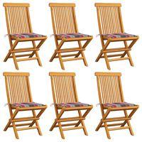 vidaXL Sillas de jardín 6 uds madera de teca y cojines a cuadros rojo
