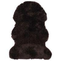 vidaXL Alfombra de piel de oveja marrón 60x90 cm