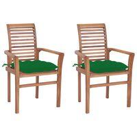 vidaXL Sillas de comedor 2 uds madera maciza de teca con cojines verde