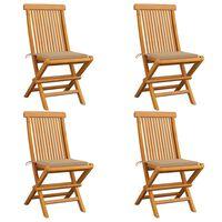vidaXL Sillas de jardín 4 uds con cojines beige madera de teca