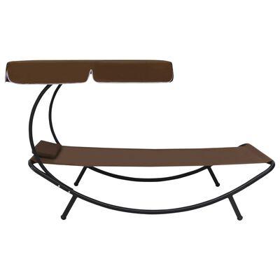 vidaXL Tumbona de jardín con toldo y cojín marrón