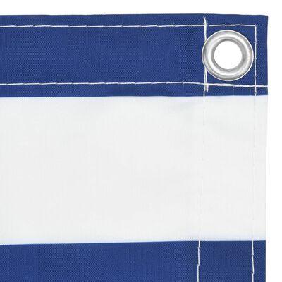vidaXL Toldo para balcón tela oxford blanco y azul 75x500 cm