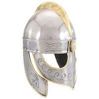 vidaXL Réplica de casco Beowulf antiguo LARP acero plateado