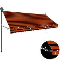 vidaXL Toldo manual retráctil con LED naranja y marrón 300 cm