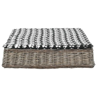 vidaXL Cama para perros y cojín plana sauce natural gris 110x75x15 cm