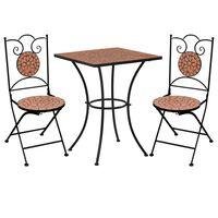 vidaXL Mesa y sillas de bistró 3 piezas con mosaico cerámica terracota