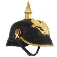 vidaXL Réplica de casco de soldado prusiano LARP acero negro