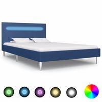 vidaXL Estructura de cama con LED tela azul 120x200 cm