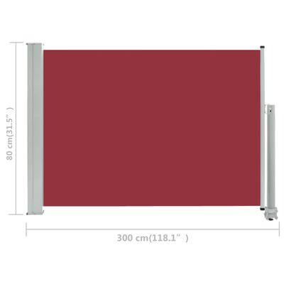 vidaXL Toldo lateral retráctil de jardín rojo 80x300 cm