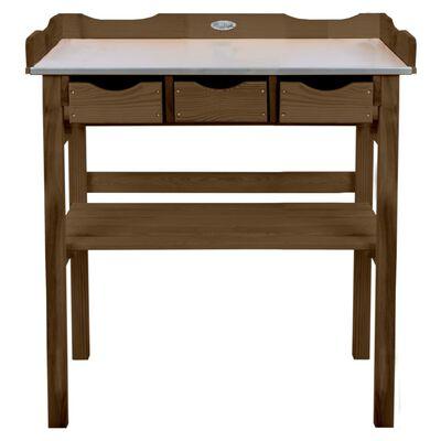 Esschert Design Mesa para macetas con cajones marrón