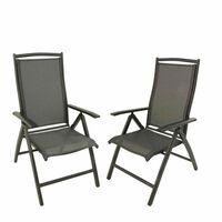 Pack 2 sillones de aluminio antracita y textilene60x76x110cm