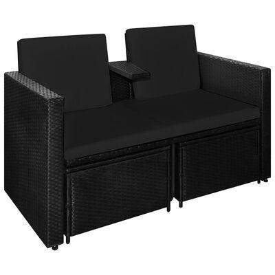 vidaXL Set de muebles de jardín 3 pzas y cojines ratán sintético negro