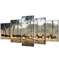 Set decorativo de lienzos para la pared modelo cebras, 200 x 100 cm