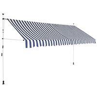vidaXL Toldo manual retráctil 350 cm azul y blanco a rayas