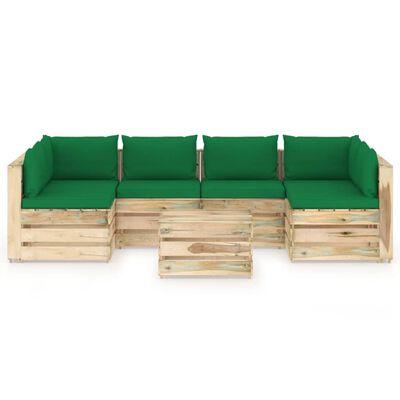 vidaXL Muebles de jardín 7 piezas con cojines madera impregnada verde
